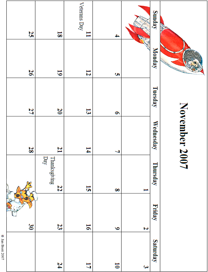 2007 November Calendar Grid