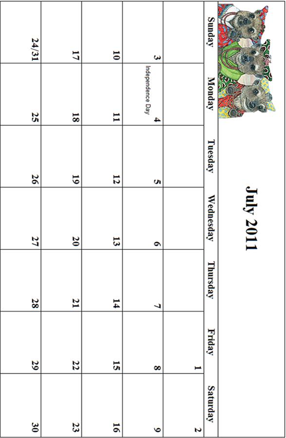 2011 July Calendar Grid