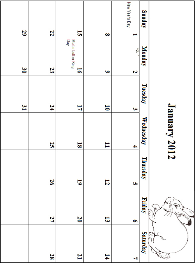 2012 Coloring Calendar Grid January