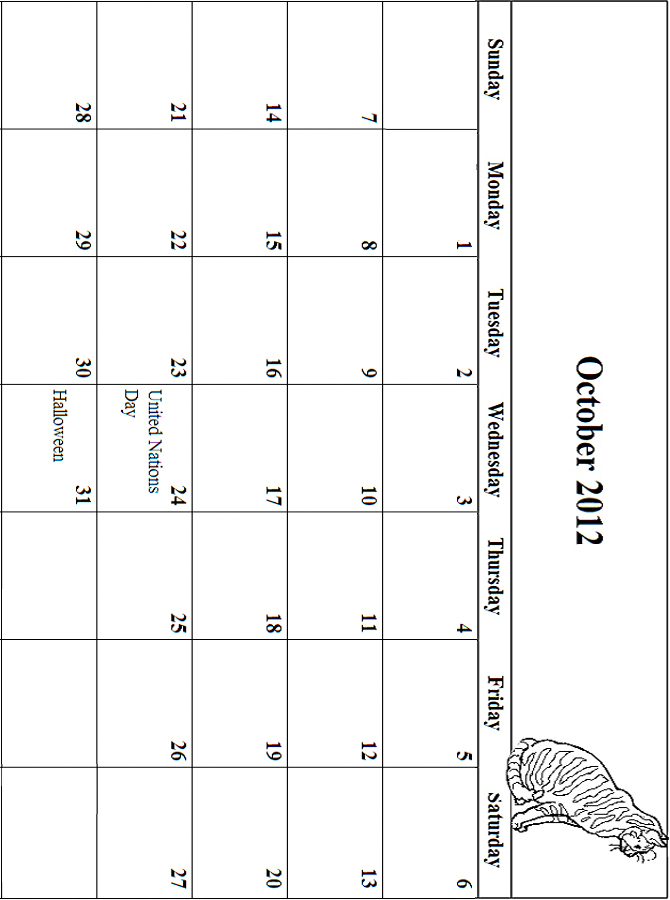 2012 Coloring Calendar Grid October