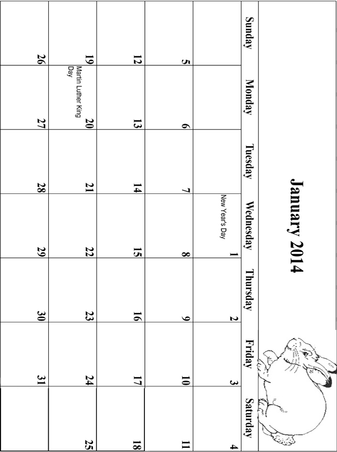 2014 Coloring Calendar Grid January