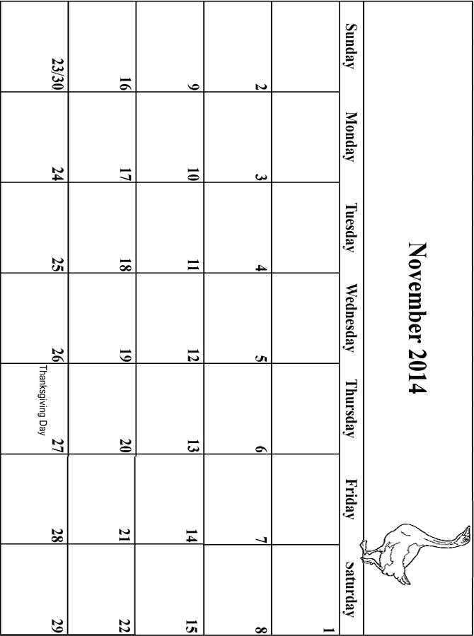 2014 Coloring Calendar Grid November.