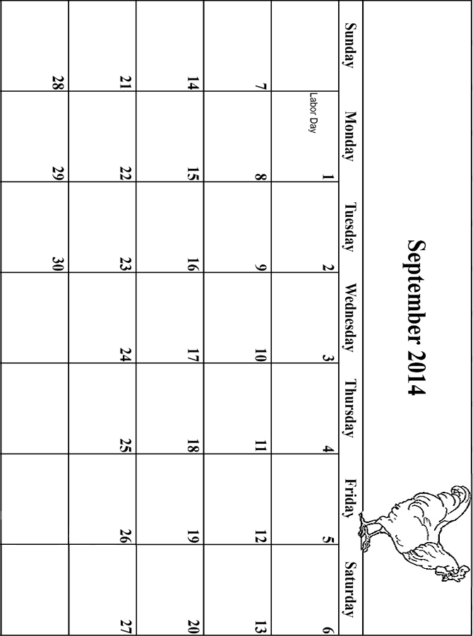 2014 Coloring Calendar Grid September