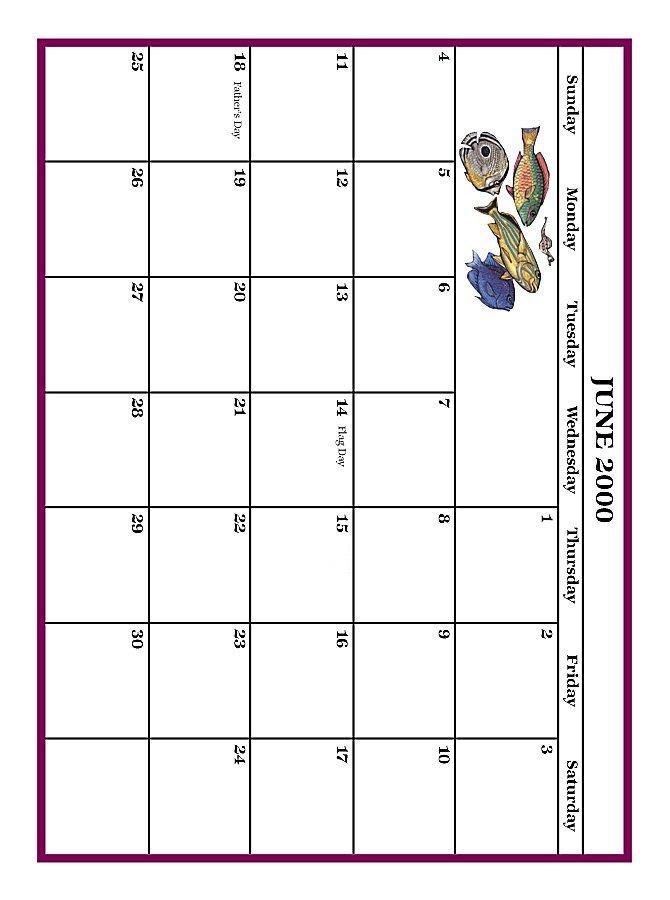 Calendar June 2000 : June grid