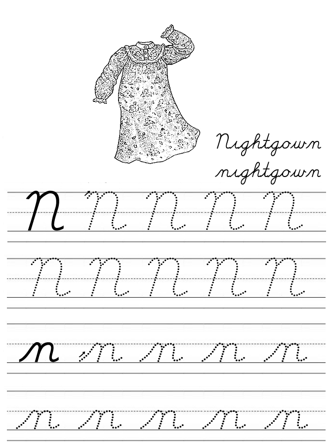 Worksheets Cursive N alphabet coloring tracers cursive n