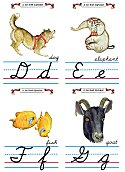 Flash Card Cursive Alphabet D to G
