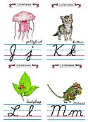 Flash Card Cursive Alphabet J to M
