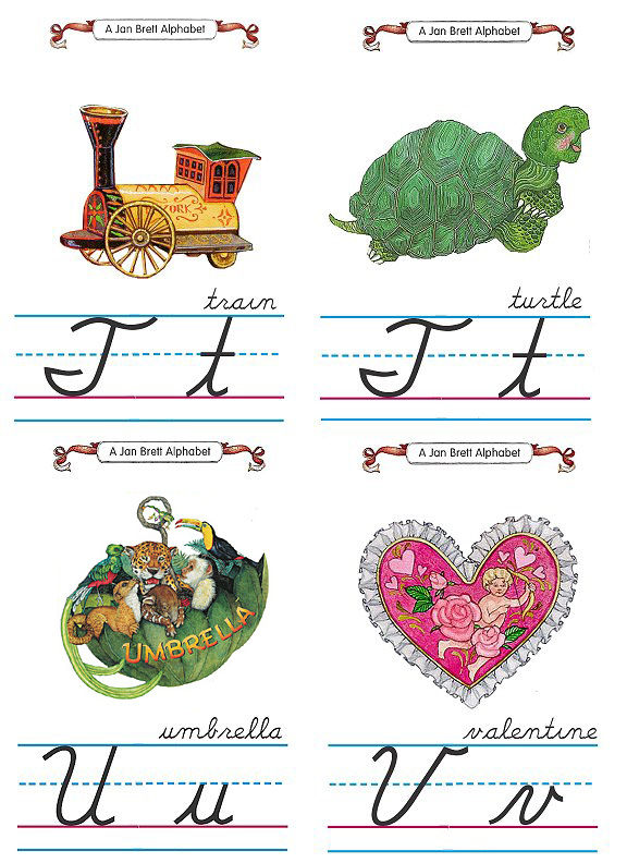 Flash Card Cursive Alphabet T to V