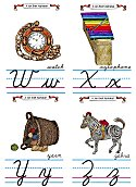 Flash Card Cursive Alphabet W to Z