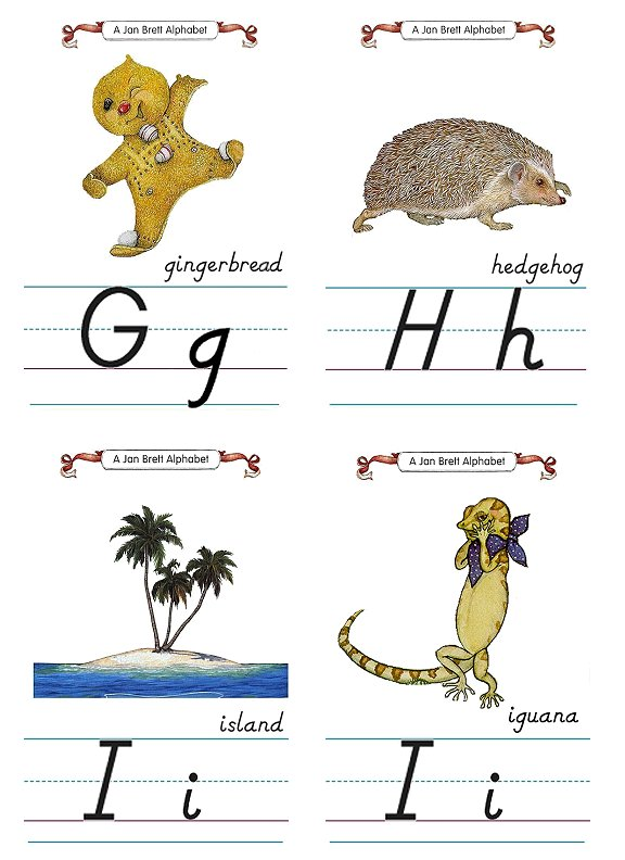 Flash Card Modern Alphabet G to I