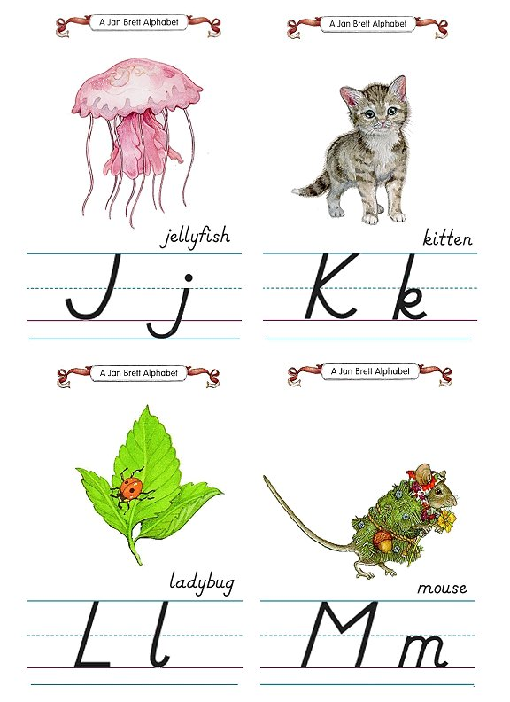 Flash Card Modern Alphabet J to M