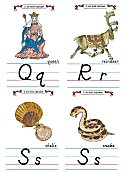 Flash Card Modern Alphabet Q to S
