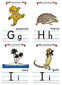 Flash Card Traditional Alphabet G to I