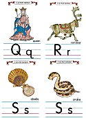 Flash Card Traditional Alphabet Q to S