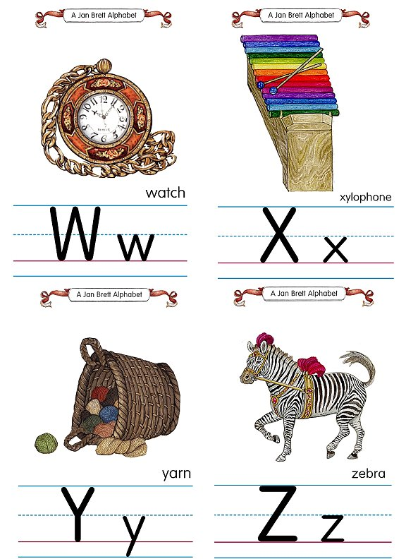 Flash Card Traditional Alphabet W to Z