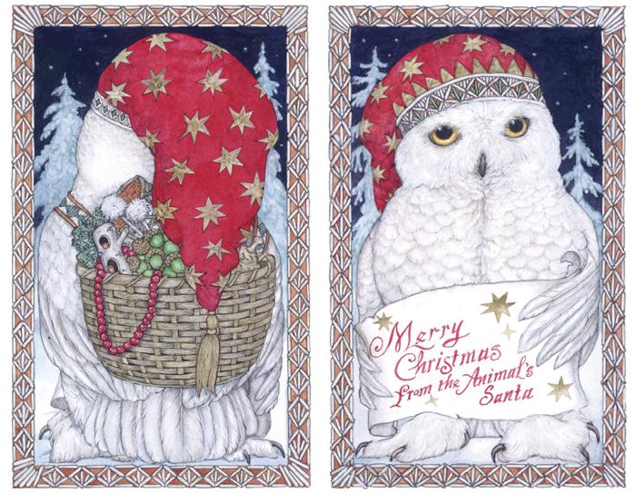 Animals Santa Christmas Card