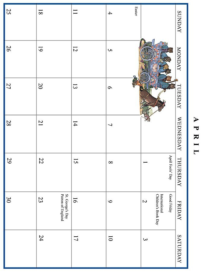 Jan Brett 1999 Calendar - April grid