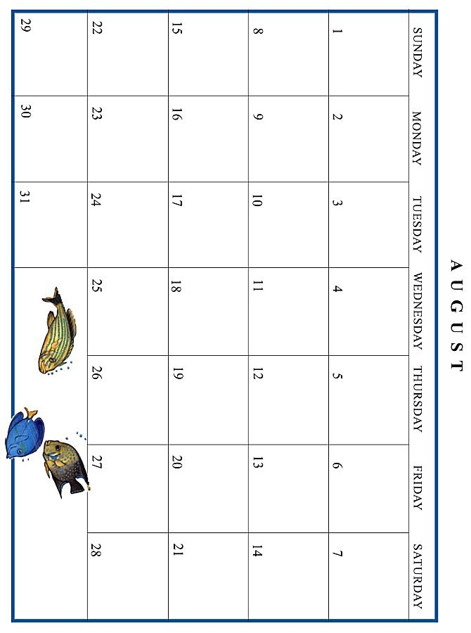 Jan Brett 1999 Calendar - August grid
