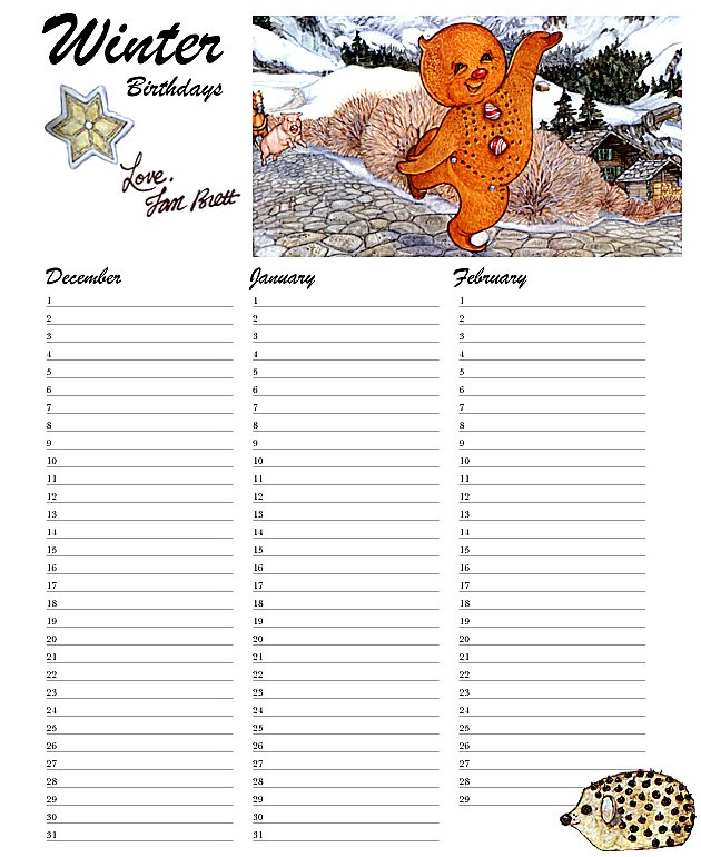 Birthday Calendar Winter