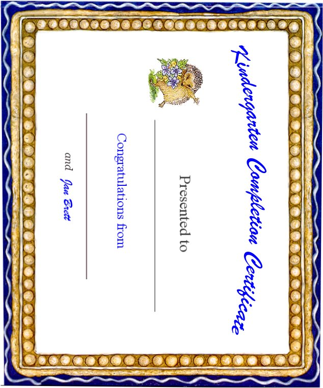 Kindergarten Awards Certificates: Kindergarten Completion Certificate