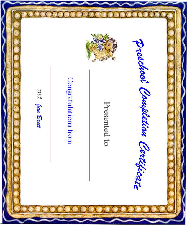 Certificate of Preschool Completion
