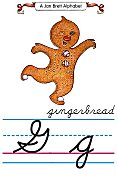 Cursive alphabet G gingerbread