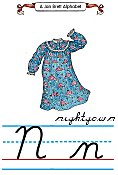 Cursive alphabet N nightgown