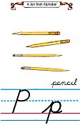 Cursive alphabet P pencil