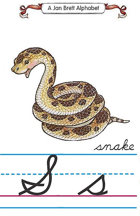 cursive alphabet s snake