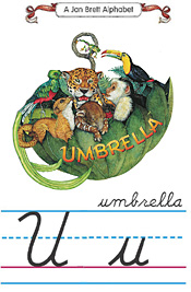 Cursive alphabet U umbrella