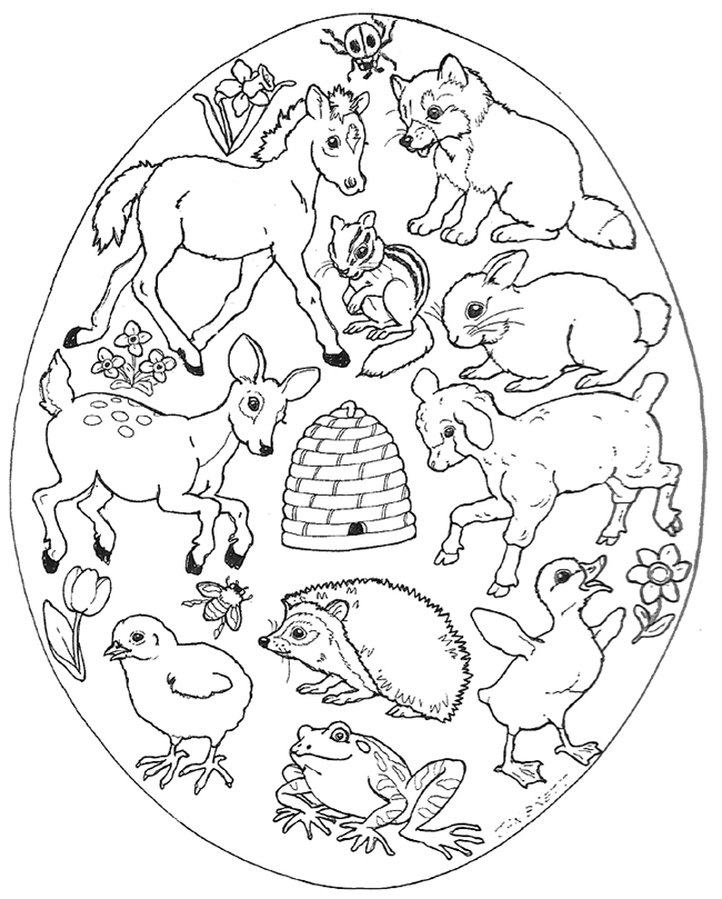 Easter egg mural animals