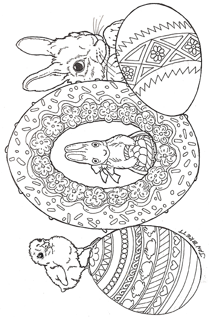 Easter eggs coloring pages by janbrett.com