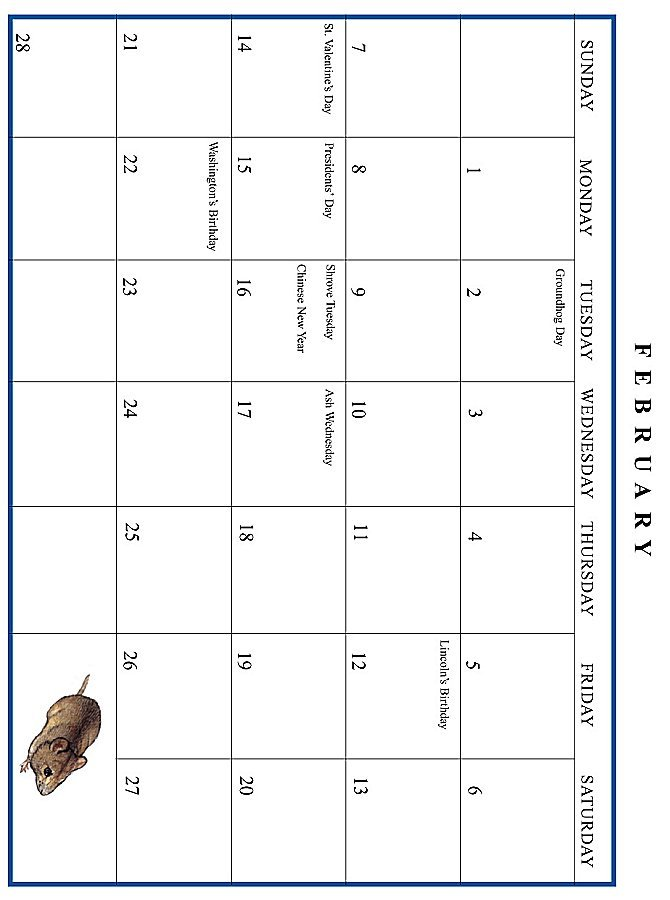 Jan Brett 1999 Calendar - February grid