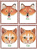 Matching Animals Game fox and cat