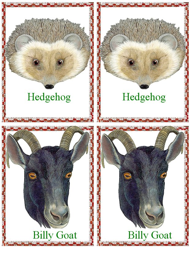 Matching Animals Game hedgehog and billy goat