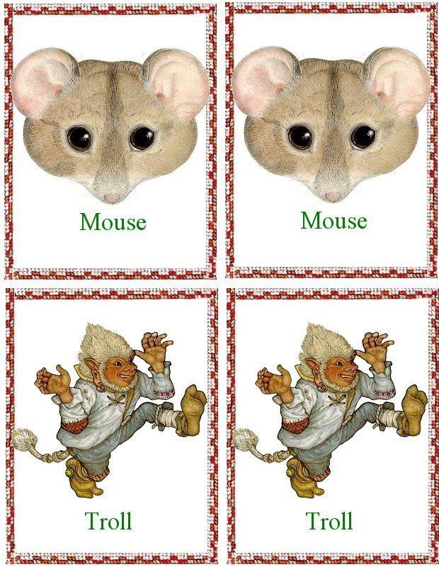 Matching Animals Game mouse and troll