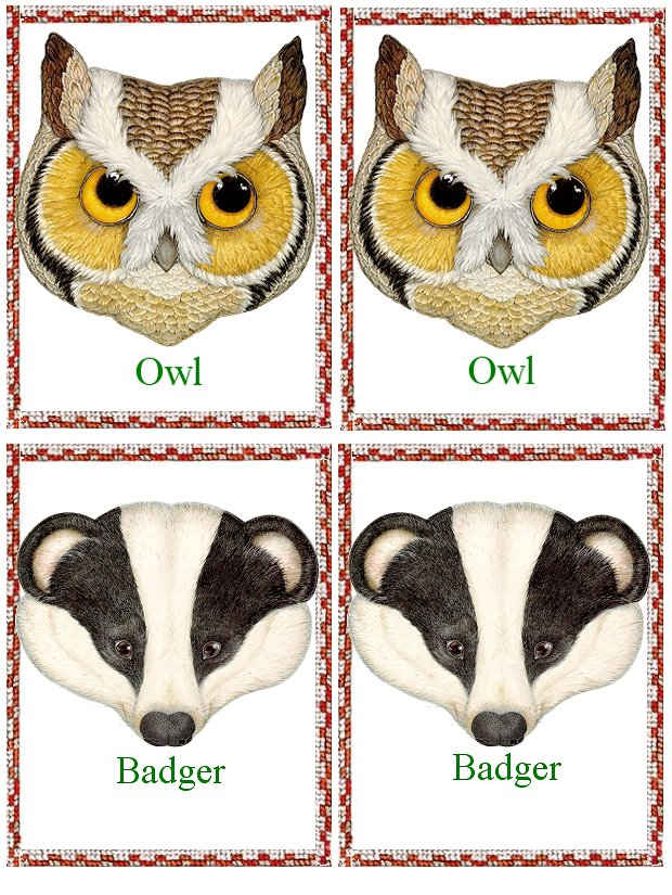 Matching Animals Game owl and badger