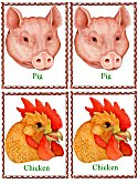 Matching Animals Game pig and chicken