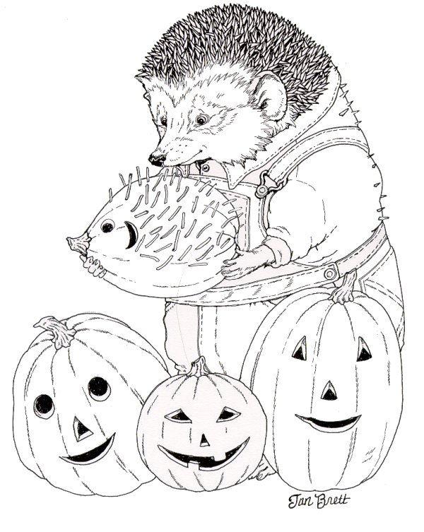Hedgie Carves a Pumpkin