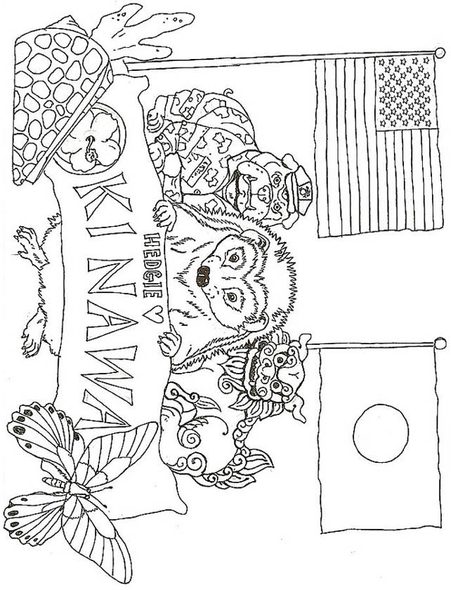 Hedgie Loves Okinawa Japan Coloring Page