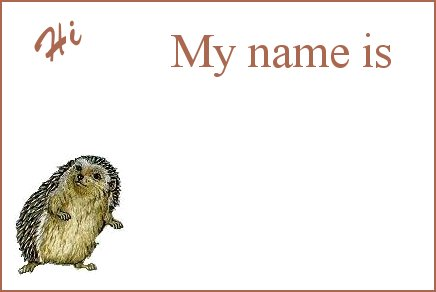 Hedgie Name Tag