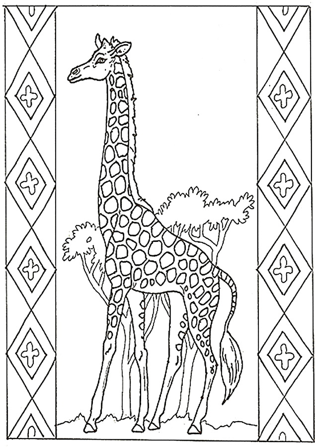 Honey...Honey...Lion Girafe with Border Coloring Page