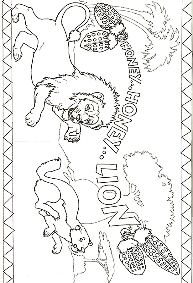Honey...Honey...Lion Lion Chasing Badger Coloring Page