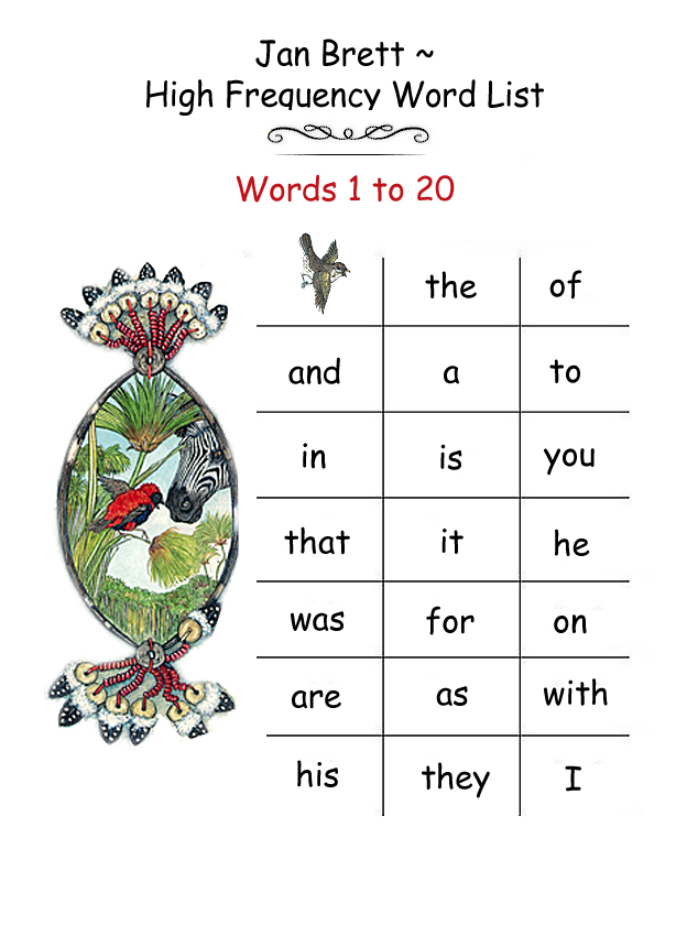 High Frequency Word List 1 - 20