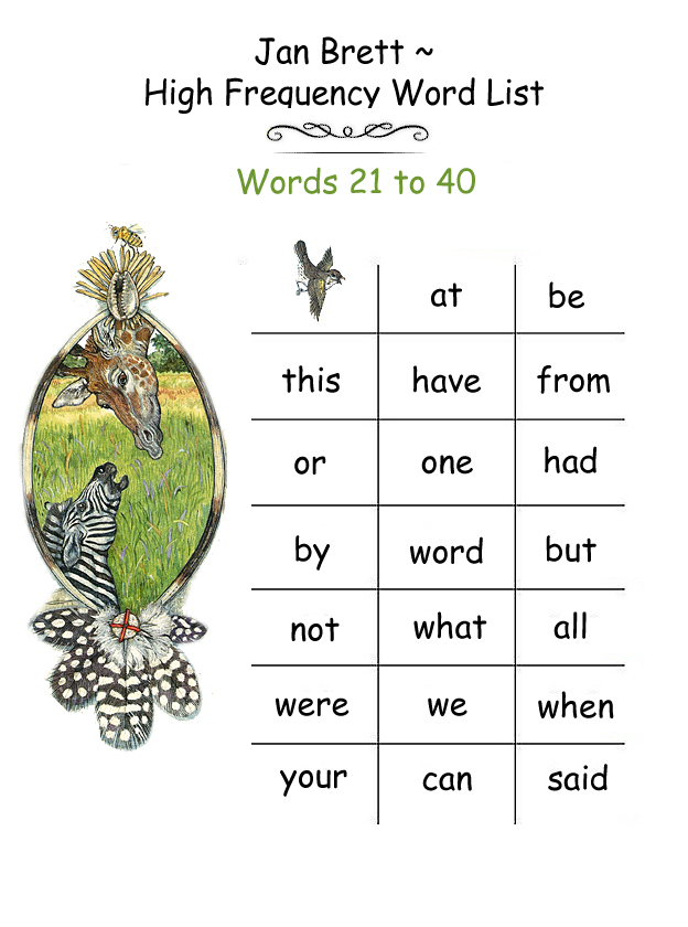 High Frequency Word List 21 - 40
