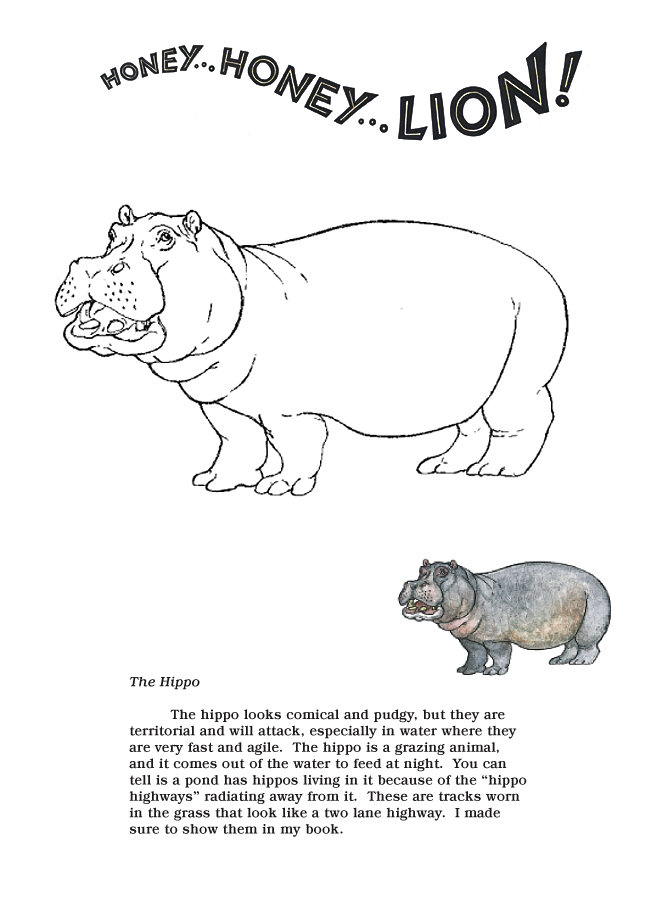 Honey...Honey...Lion! Coloring Pages  The Hippo