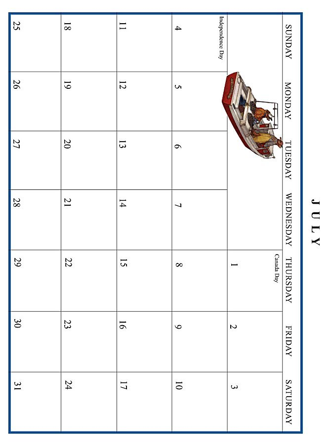 Jan Brett 1999 Calendar - July grid