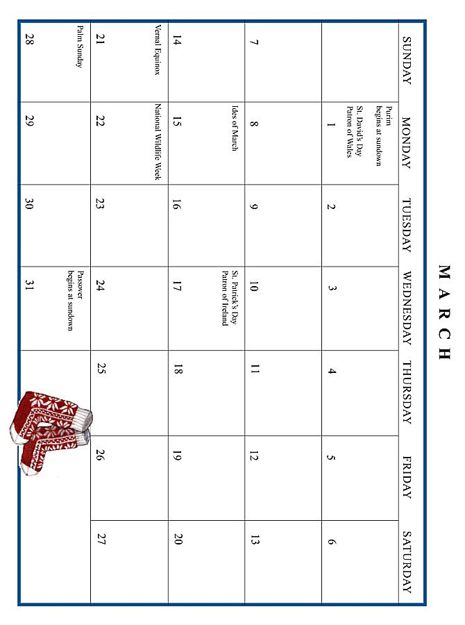 Jan Brett 1999 Calendar - March grid