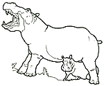 Mural Honey Honey Lion Hippo with Baby