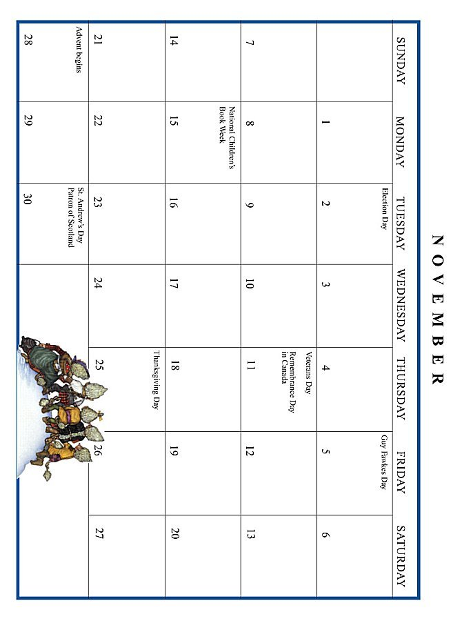 Jan Brett 1999 Calendar - November grid